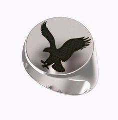Signet Ring, Mens Ring, Personalized Ring, American Eagle, flying vulture, Animal Logo, Eagle Logo, Engraved Round Ring, 925 Sterling Silver https://www.etsy.com/shop/Ronninfinity