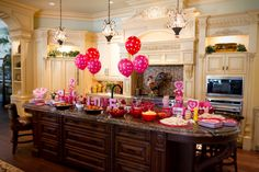 party food display on kitchen island--with balloons