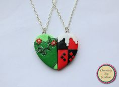Poison Ivy and Harley Quinn Friendship Necklaces, Keyrings or Magnets -    ♦ This set is available as friendship necklaces, magnets or key