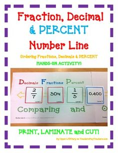 Fraction, Decimal  & PERCENT Number Line Ordering Fractions and Decimals  HANDS-ON ACTIVITY!  Use this FUN activity to teach, review, and assess your students! Great for whole class activity with partners and in small group instruction. Just Print, Laminate, and Cut!