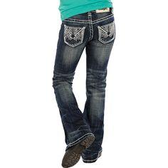 Girl's Rock N Roll Cowgirl Rhinestone Pocket Medium Wash Jeans