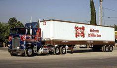 From the collection of Peter Van Der Slujis - Miller Beer Big Rig Trucks, Semi Trucks, Cool Trucks, Freightliner Trucks, Antique Trucks, Vintage Trucks, Vintage Ads, Train Truck, Road Train