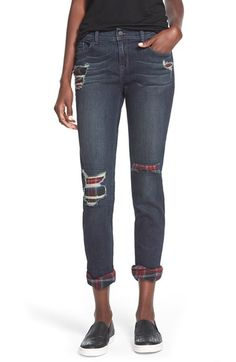 Free shipping and returns on SP Black Plaid Lined Girlfriend Jeans (Dark Wash) at Nordstrom.com. Cute plaid patched peek out from the shredded knees and rolled cuffs on this pair of autumn-ready girlfriend jeans, not quite skinny and not quite baggy.