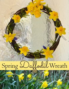 Learn how to make a natural willow and daffodil spring wreath - a beautiful and inexpensive way to decorate for spring! #flowerarranging