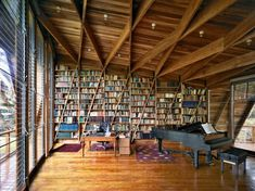 i could definitely lose track of time practicing in here. love this music room/library