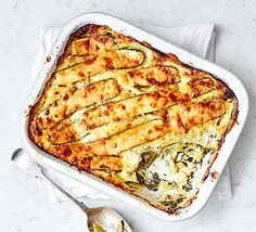 Enjoy a vegetarian lasagne bursting with spinach and courgette, held together with a creamy mascarpone sauce. It's a filling midweek meal for all the family.A quick and creamy carbonara-style … Vegetarian Lasagne, Vegetarian Recipes, Healthy Recipes, Vegetarian Chicken, Vegetarian Dinners, Lasagne Recipes, Pasta Recipes, Chicken Recipes, Bbc Good Food Recipes