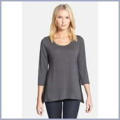 Shopping Tips - Eileen Fisher Scoop Neck Organic Linen Top (Regular & Petite) Graphite X-Small