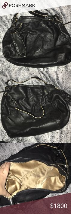 Chanel bag Large Chanel boho style bag. Chains accent the straps. Used but like new. Leather. Chanel logo embossed CHANEL Bags Shoulder Bags