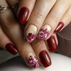 Маникюр | Ногти Simple Nail Designs, Nail Art Designs, Flower Nails, Mani Pedi, Red Nails, Nail Artist, Beauty Nails, Eyelashes, Polish