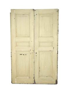 White painted oak doors with three panels. The panels on one side have one small center horizontal panels and the ones on the […] Arched Doors, Oak Doors, Entry Doors, Antique Interior, Antique Doors, Pocket Doors, Closet Doors, Double Doors, White Paints