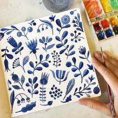 Another great watercolour idea - A bit like dutch pottery or scandinavian, use a neutralised blue for this on your white paper. how cute does it look - like wedgewood.