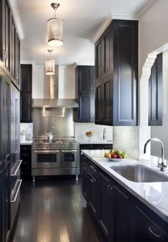 floor, black cabinets, gray walls, black kitchens, galley kitchens, light, countertop, marbl, kitchen cabinets