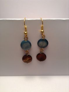 Blue and brown handmade beaded earrings by Shaylasjewelrybox on Etsy