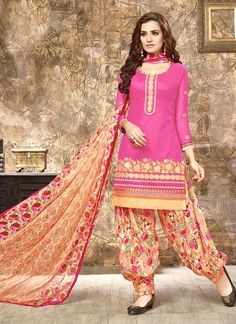Superlative Cotton   Embroidered Work Punjabi Suit
