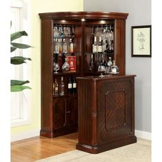 Lowest price online on all Furniture of America Myron Traditional Corner Home Bar in Dark Cherry - Corner Home Bar, Corner Bar Cabinet, Corner China Cabinets, Home Bar Cabinet, Corner Curio, Cabinet Space, China Cabinet Bar, Kitchen Cabinets, Wall Cabinets