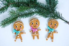 Needle Felted Christmas Tree Ornaments Gingerbread by funkysheepy, $39.00