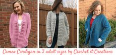 Cameo Cardigan Adult XS/S Crochet Pattern - Crochet it Creations