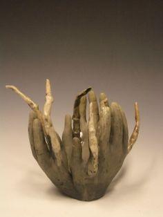 Ceramic sculpture, raku firing with porcelain clay by Sarah Saunders