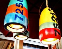 Buoy hanging light pendants --- I think I might have to make these!! Thank you completely coastal blog.