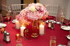 Fall Wedding Blush and Burgundy Wedding, Orlando Florida, Low Wedding Centerpiece with Candles. Fall Wedding Flowers, Wedding Flower Inspiration, Fall Wedding Colors, Peonies Wedding Centerpieces, Pink Wedding Decorations, Burgundy And Blush Wedding, Wedding Blush, Pink Wedding Receptions, Popular Wedding Colors