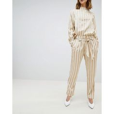 Selected Metallic Striped Wide Leg PANTS With Belt (7.775 RUB) ❤ liked on Polyvore featuring pants, multi, striped trousers, wide-leg trousers, sequin pants, tailored pants and striped pants