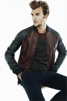 2-toned leather bomber. Good casual.