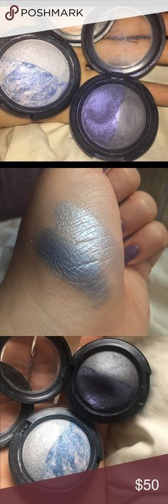 MAC Mineralized eyeshadow 4 beautiful colors! The lighter duo is called water & ice, and the sticker came off of the other duo. They are all very pigmented and last forever on the eyelids. MAC Cosmetics Makeup Eyeshadow