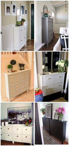 """IKEA Hemnes Shoe Cabinet only has front legs to allow for the closest fit to the wall. The minimal 8.5"""" - 11.75"""" depth is ideal for a small entry, hallway, back entrance, staircase landing, mudroom or office. Black or white; two sizes: 40"""" H x 42""""W x 8.5"""" D for $99, 50"""" H x 35""""W x 11.75"""" D for $129. Custom looks by changing out the hardware."""