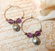 Amethyst Pearl Sterling Silver Small Hoop Earring by MockiDesigns, $35.00