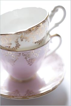 pink and gold teacups Very similar to mine from some from my grandmother's collection
