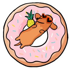dog pink Sticker by Stefanie Shank Cute Animal Drawings, Cute Drawings, Dachshund Art, Dog Illustration, Aesthetic Stickers, Happy Dogs, Cute Stickers, Dog Pictures, Cute Animals