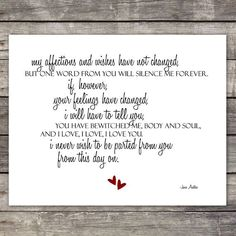 Mr. Darcy's Proposal Quote | Austen Pride and Prejudice Quote Paper ...