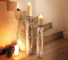 PierSurplus Wood Column Floor Candle Holders w/Decorative Stars & Beads, Set of Two Product SKU: Candle Lanterns, Candle Sconces, Pillar Candles, Floor Candle Holders, Candle Stand, Candles In Fireplace, Diy Fireplace, Chandeliers, Diy Candles Step By Step