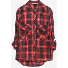 Zara Check Shirt With Print On The Back (1.113.620 VND) ❤ liked on Polyvore featuring tops, red, checkered top, checked shirt, checkered pattern shirt, checkered shirt and red top
