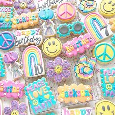 Sugar Cookie Royal Icing, Sugar Cookies, Peace Love Happiness, Peace And Love, Happy Party, Birthday Cookies, Custom Cookies, Cookie Decorating, Happy Birthday