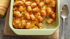 Hearty ground beef and green chiles are layered between Tater Tots™ in this deliciously cheesy casserole that's quick to assemble and serve.