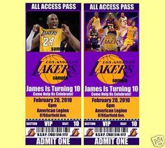 los angeles lakers birthday invitations 20 tickets
