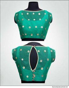 Green blouse design for silk saree #BlouseDesigns #SilkSarees