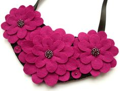 Felt flower necklace dark pink by lupin on Etsy, £30.00