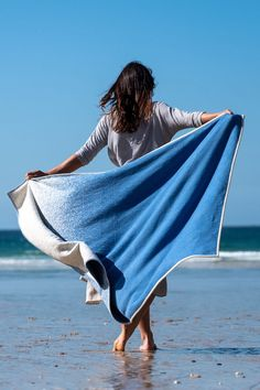 Blue Sea Spray Cotton Standard Blanket - 160 x by Atlantic blankets. Our blue sea spray blanket embodies the hypnotic allure of glistening Recycled Blankets, Cotton Blankets, Blue Blanket, Beach Blanket, King Or Queen Bed, Sea Spray, Recycled T Shirts, Blue Throws, Vintage Nautical