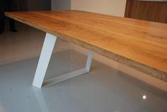 Solid oak dining table. Handmade. Modern design by Poppyworkspl