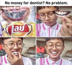 Funny lol -- No Money For The Dentist Daily Funny jokes Funny Shit, Stupid Funny Memes, Funny Relatable Memes, Funny Posts, Funny Stuff, Funny Laugh, Really Funny, Funny Cute, The Funny
