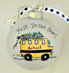 Best School Bus Driver Christmas ornament by PawstoPaint on Etsy
