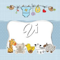 baby boy shower card with animals