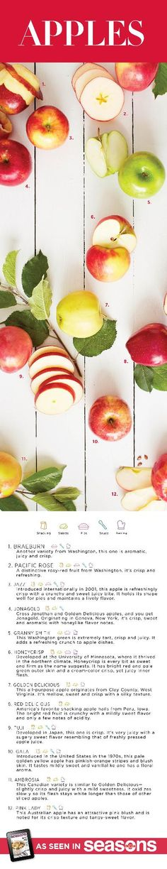 Choose from these incredible apple varieties at your Hy-Vee store. Texture and flavors vary from crisp and tart to soft and sweet.
