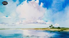 Рисуем акварелью: Пейзаж с облаком — kalachevaschool.ru Watercolor Video, Watercolor Sky, Watercolour Tutorials, Watercolor Paintings, Sky And Clouds, Master Class, Art Tutorials, Paper Dolls, Videos
