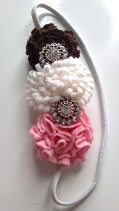 Pink Chocolate and White Felt Flower Headband on Etsy, $10.99