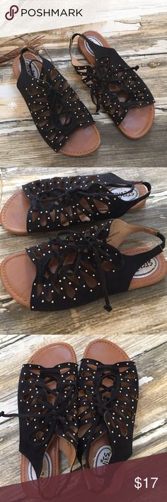 Stevies Black Suede Studded Lace Sandals.  Girls 4 Awesome Stevies Black Suede Studded Sandals.  Boho Lace Close & Edgy Silver Studs.  Elastic Ankle Back.  Good to Very Good Condition.  Some Wear to Toe ( See Pic).  & Bottom Outsole. Stevies Shoes Sandals & Flip Flops