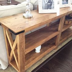 "Our new sofa table - solid wood and built at home ❤️ | Rustic ""X"" table plans by Ana-White"