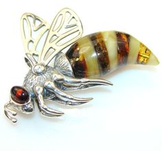 """Sterling and mixed color amber """"Bee"""" brooch"""